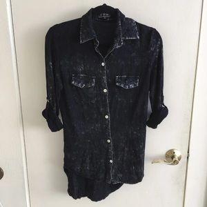 Black button up grunge shirt top